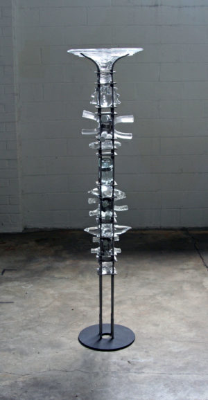 3.  Altar Tower,  Glass, Steel, 14.5 X 14.5 X 60 in Tall  $4500.